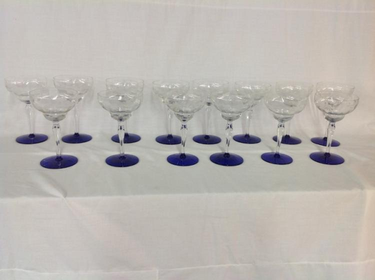 Cobalt Blue and Clear Wine Goblets