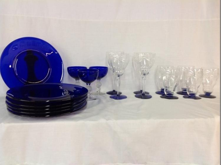 Cobalt Blue Plates and Assorted Stemware