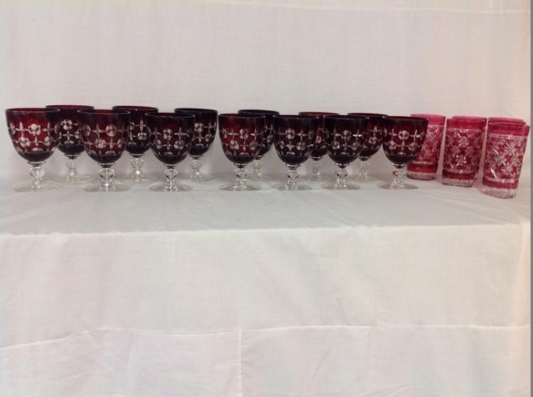 Lot of 13 Cut to Clear Red Goblets, Lot of 6 Cut to Cramberry Glasses