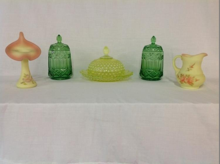 Fenton Pitcher and Vase Artist Signed, 2 Imperial Candy Dishes, Yellow Hobnail Butter Dish