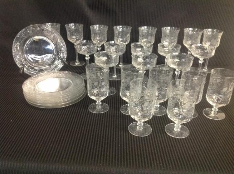 43 Pcs of Goblets, Wine Glasses, Glasses, 8 Plates