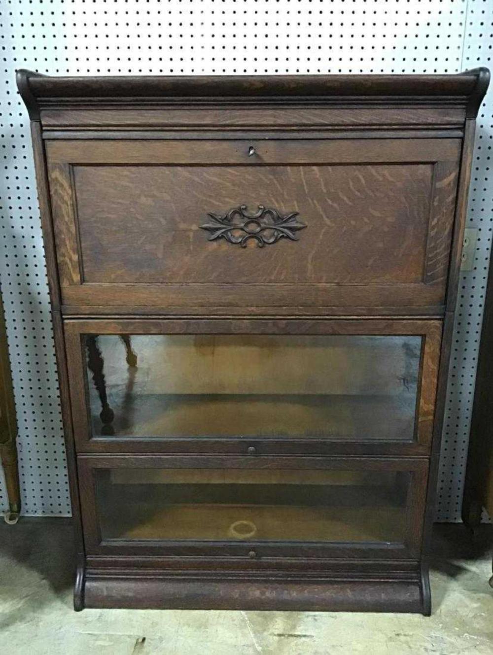 Tiger Oak Barrister Style Bookcase Or Secretary Desk