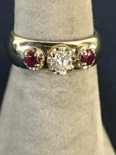 14k White Gold Ruby & Diamond