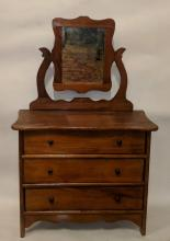AMERICAN 19TH CENTURY SALESMAN'S SAMPLE CHEST OF DRAWERS WITH MIRROR