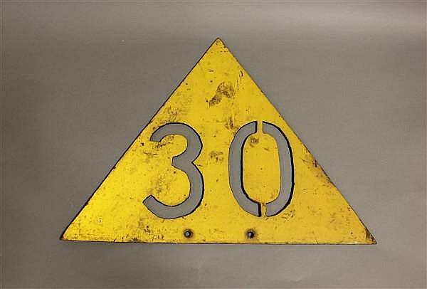CAST IRON TRIANGULAR 30 MPH RAILROAD SPEED LIMIT SIGN