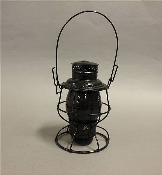 RAILROAD LANTERN PENNSYLVANIA LINES RELIABLE RED UNMARKED GLOBE