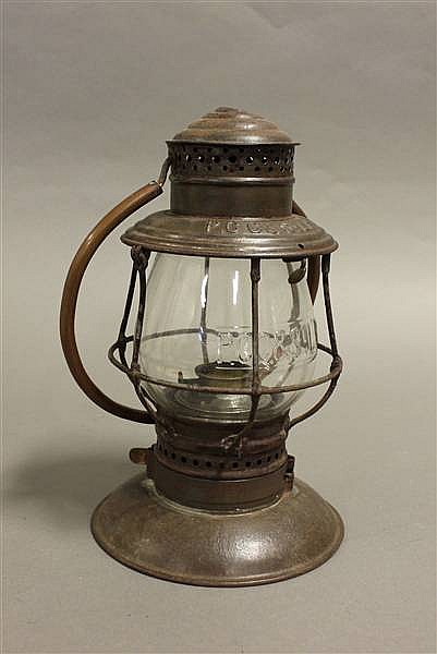 RAILROAD LANTERN PCC & STL STEEL TOP BELL BOTTOM CLEAR CAST GLOBE