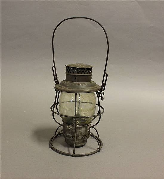 RAILROAD LANTERN PENNSYLVANIA LINES RELIABLE CLEAR ETCHED GLOBE