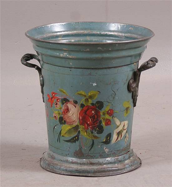 EARLY BLUE TOLE DECORATED TIN WASTE POT WITH FLORAL DÉCOR, 12 1/2""