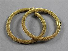 PAIR UNMARKED YELLOW GOLD MESH BANGLES WITH SCREW STYLE CLASPS, 2 1/4