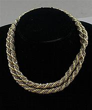 STAMPED 18K BUT TESTS 10K TWO TONE ROPE CHAIN NECKLACE, 32