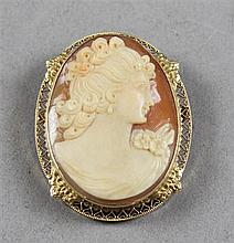 CARVED CAMEO PIN/PENDANT WITH OPENWORK FRAME, 1 3/4