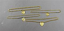 FOUR STAMPED 999 YELLOW GOLD TONE CHAIN NECKLACES WITH HEART PENDANTS, CHAINS 16