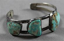 SILVER AND THREE TURQUOISE NUGGET CUFF BRACELET, 2 1/4