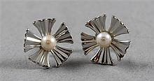 PAIR STAMPED 14K WHITE GOLD FLOWER DESIGN EARRINGS WITH CULTURED PEARLS, 1