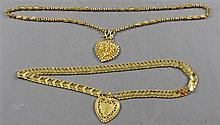 TWO STAMPED 999 YELLOW GOLD TONE ORNATE LINK NECKLACES WITH HEART PENDANTS, 17