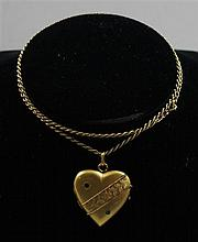 EUROPEAN HALLMARKED 56 YELLOW GOLD HEART LOCKET WITH GEMSTONE ACCENTS AND ROPE CHAIN NECKLACE, LOCKET 1 1/2