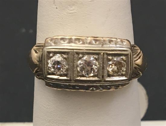 Stamped 14k white gold 3 diamond ring approx 45 ctw size 8 for Diamond stamp on jewelry
