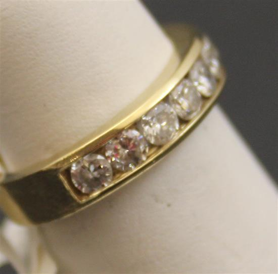 Stamped 14k yellow gold 10 round brilliant diamond band app for Diamond stamp on jewelry