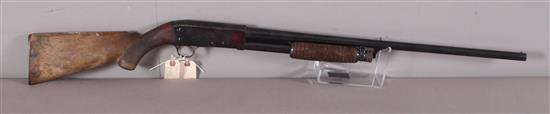 ITHICA MODEL 37 .16 GAUGE PUMP SHOTGUN SN: 230515, WATER DAMAGE TO BUTT STOCK AND LIGHT RUST