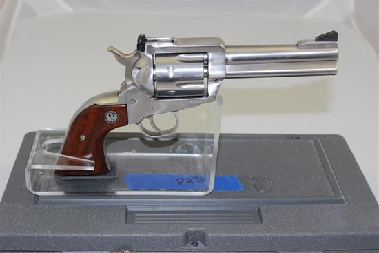 RUGER MODEL NEW MODEL BLACKHAWK .357 MAG CALIBER REVOLVER SN: 37-11490, STAINLESS INCLUDING ORIGINAL BOX