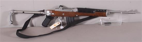 RUGER MODEL MINI-14 .223 CALIBER SEMI-AUTO RIFLE SN: 184-36753, FOLDING STOCKING AND SLING