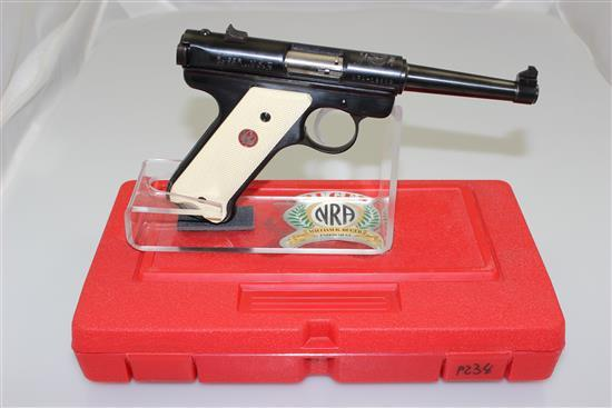 RUGER MODEL NRA WILLIAM RUGER ENDOWMENT .22 LR CALIBER SEMI-AUTO PISTOL SN: NRA-19882, INCLUDING ORIGINAL BOX AND 2 MAGAZINES