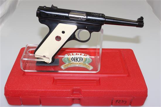 RUGER MODEL NRA WILLIAM RUGER ENDOWMENT .22 LR CALIBER SEMI-AUTO PISTOL SN: NRA-18983, INCLUDING ORIGINAL BOX AND 2 MAGAZINES