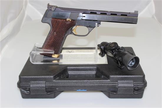 HIGH STANDARD MODEL VICTOR .22 LR CALIBER SEMI-AUTO PISTOL SN: 2601904, INCLUDING ULTRA DOT SCOPE AND ORIGINAL CASE