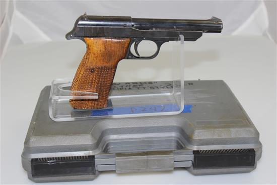 TT-OLYMPIA .22 LR CALIBER SEMI-AUTO PISTOL SN: 0229, INCLUDING 2 MAGAZINES, BARREL WEIGHT AND HARD CASE NOT MATCHING