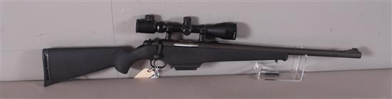 MOSSBERG MODEL 595 12 GAUGE BOLT SHOTGUN SN: M144209, RIFLED COMPENSATED BARREL INCLUDING GUIDE GEAR SCOPE
