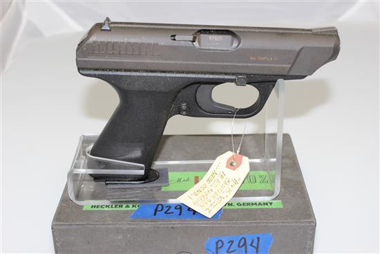 HECKLER & KOCH MODEL GMBH 9MM CALIBER SEMI-AUTO PISTOL SN: 87955, INCLUDING 2 MAGAZINES AND ORIGINAL BOX