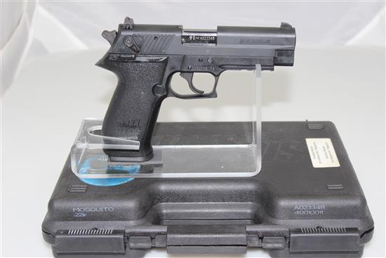 SIG SAUER MODEL MOSQUITO .22 LR CALIBER SEMI-AUTO PISTOL SN: AGA023348, INCLUDING ORIGINAL BOX
