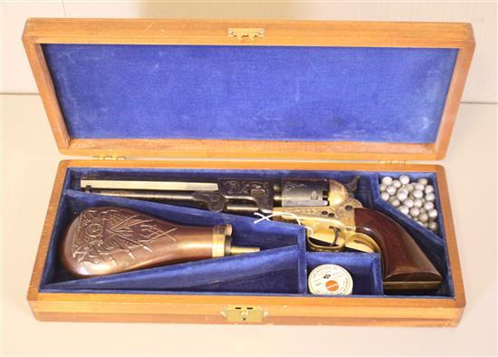 EIG NAVY MZ .38 CALIBER REVOLVER SN: 31308, INCLUDING ORIGINAL CASE AND POWDER FLASK, DOES NOT NEED CALLED IN *********