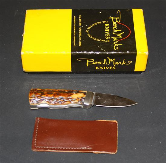 BENCH MARK ROLOX BONE HANDLE KNIFE WITH CASE AND BOX