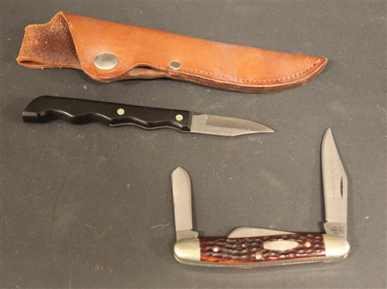 1965-1969 CASE 6347 HP SSP STOCKMAN KNIFE AND CASE XX CA 287 PARING KNIFE