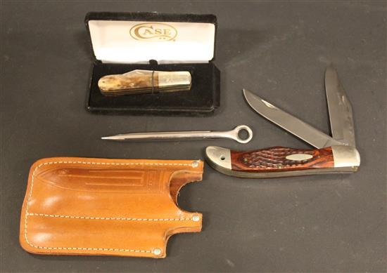 CASE XX 1965-1969 BARLOW KNIFE AND 1970-1979 6265 SAB FOLDING KNIFE