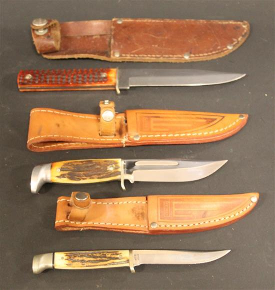 (3) CASE KNIVES INCLUDING 1979 CENTENNIAL KNIFE AND (2) 1940-1965 FIXED BLADE KNIFES.