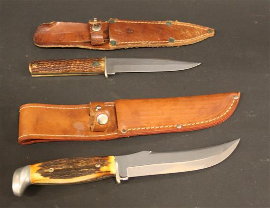 (2) CASE KNIVES INCLUDING 1940-1965 BONE HANDLE KNIFE AND 1965-1980 HUNTING KNIFE