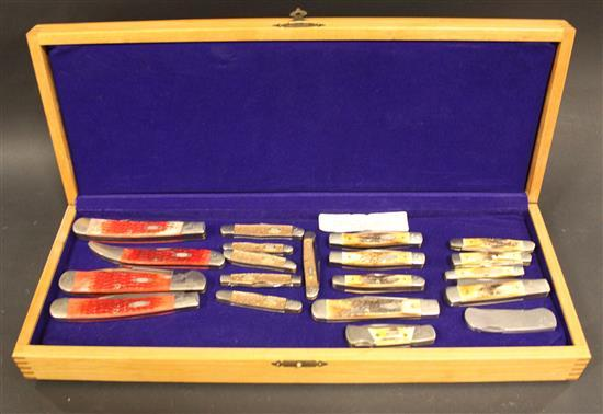 CASE XX TESTED CENTENNIAL 1889-1989 MINT SET SERIAL #259. (4) CASE RED BONE FOLDING KNIVES INCLUDING R60166SS, R610098SS, R6251SS...