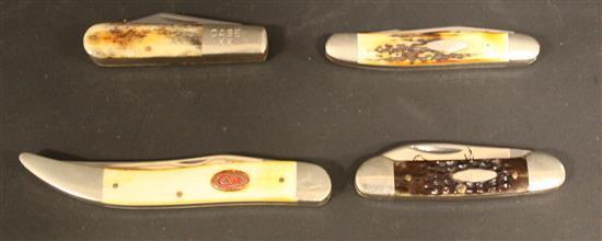 (4) CASE KNIVES INCLUDING BW10098SS, 62131, GEN STAG MUSKRAT SSP AND A62009 1/2