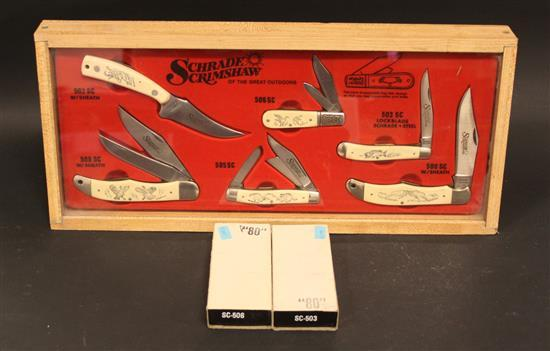 SCHRADE SCRIMSHAW STORE DISPLAY SET INCLUDING 502 SC, 503 SC, 506 SC, 500 SC, 505 SC, AND 508 SC