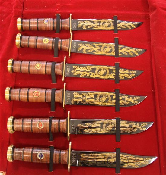 USMC 24K GOLD PLATED 1ST THRU SIXTH DIVISION KA-BAR KNIFE SET, 4 WITH CERTIFICATE OF AUTHENTICITY