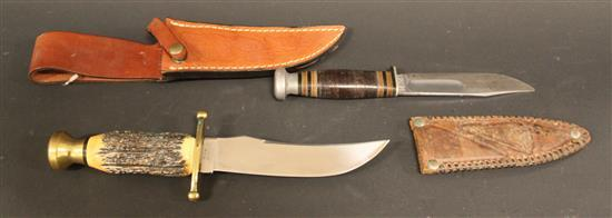 CASE HUNTING KNIFE 1940-1965 AND CASE BOWIE KNIFE WITH KODIAK STAMPED ON BLADE