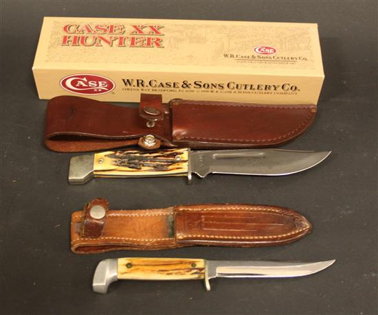 1998 CASE XX 547-5 SS FIXED BLADE KNIFE STAG HANDLE AND CASE FIXED BLADE KNIFE WITH SHEATH