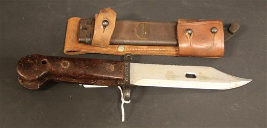 BAYONET WITH SERIAL NUMBER SAJ4745 ON SHEATH AND BAYONET