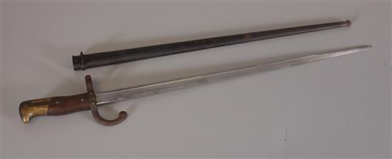 FRENCH MODEL 1874 BAYONET MARKED WITH NAME AND  AUGUST 1879