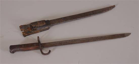 EARLY BAYONET WITH METAL SCABBARD