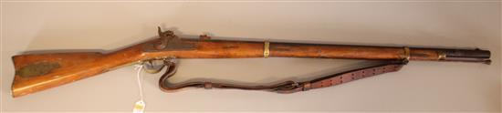 ANTONIO ZOLI .58 CALIBER BLACK POWDER RIFLE WITH LEATHER SHOULDER STRAP, DOES NOT NEED TO BE CALLED IN *********