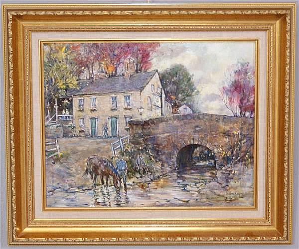 LESLIE COPE 20TH CENTURY (ROSEVILLE, OHIO) OIL ON BOARD, HEADLEY INN ZANESVILLE, OHIO, SIGNED LOWER RIGHT AND DATED, 19 1/2